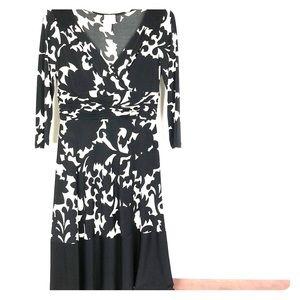 Donna Morgan Black White Floral Dress